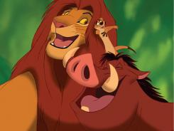 All together again:  Simba, left, Timon and Pumbaa.