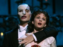 John Cudia, who stars in the title role, and Jennifer Hope Wills, plays Christine 'The Phantom of the Opera' at the Majestic Theatre in New York on June 16, 2006.