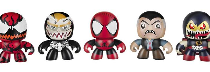 Maximum Carnage Mini Muggs set for New York Comic-Con will include (from left) Carnage, Venom, Spider-Man, J. Jonah Jameson and Demogoblin.