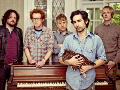 The Portland, Ore.-base band Blitzen Trapper:  Michael VanPelt, left, Marty Marquis, Brian Adrian Koch, Eric Earley and Erik Menteer