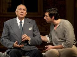 Scandalous:  Gregor (Frank Langella), left, enlists the help of his well-meaning son, Basil (Adam Driver), for one last scheme.