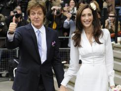 Sir Paul McCartney and his fiancee Nancy Shevell arrive for their wedding.