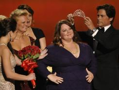 Nominees for the Emmy for lead comedy actress congratulate 'Mike & Molly' winner Melissa McCarthy at the 2011 Emmys.