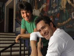 Demian Bichir and 17-year-old Jose Julian formed a real-life bond filming 'A Better Life.' Here they are photographed in front of the Mexican Consulate offices at El Pueblo de Los Angeles Historical Monument.