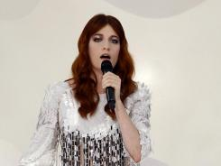 Florence Welch performs for the Chanel fashion show on Oct. 4 at the Grand Palais in Paris.