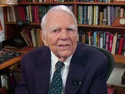 "Andy Rooney tapes his last regular appearance on ""60 Minutes"" Aug. 23 in New York."