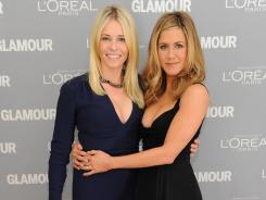 Award winner Chelsea Handler and presenter Jennifer Aniston attend 'Glamour' magazine's Women of the Year Awards in New York City.