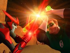 The Red Lantern Razer faces off with human space cop Hal Jordan in Green Lantern: The Animated Series, debuting on Cartoon Network Friday.