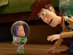 "Mini Buzz and Woody (Tom Hanks) confer in the short ""Small Fry"""