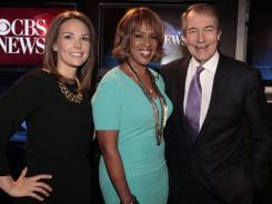 Erica Hill, left, Gayle King and Charlie Rose will lead CBS' revamped morning show. It's scheduled to launch Jan. 9.