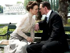 Keira Knightley, left, as Sabina Spielrein and Michael Fassbender as Carl Jung, star in the new film 'A Dangerous Method.'