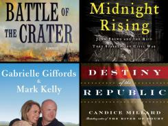 New audio books: 'Battle of the Crater'; 'Midnight Rising'; 'Gabby'; 'Destiny of the Republic.'