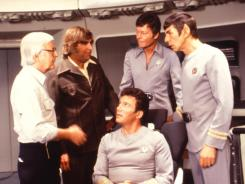 The final frontier: Director Robert Wise, left, with Gene Roddenberry, DeForest Kelley, Leonard Nimoy and William Shatner, seated, on the set of Star Trek: The Motion Picture, which came out in 1979 and was the first big-screen adaptation of the TV series.