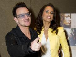 Bono and Alicia Keys attend the premiere of the Showtime documentary 'Keep a Child Alive with Alicia Keys' on Tuesday in New York.