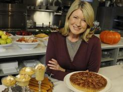 Martha Stewart's house in Katonah, N.Y., has a chef's dream kitchen, where she prepared a feast that included a double-crust apple pie, a pecan-caramel tart and pumpkin mousse for dessert.