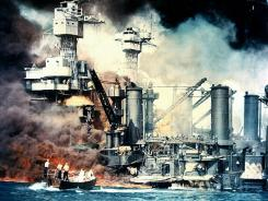 The battleship USS West Virginia is engulfed in flames after the surprise Japanese attack on Pearl Harbor on Dec. 7, 1941.