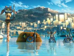 Melman the Giraffe (David Schwimmer), Alex the Lion (Ben Stiller), Marty the Zebra (Chris Rock) and Gloria the Hippo (Jada Pinkett Smith) go undercover in Monaco in 'Madagascar 3: Europe's Most Wanted.'