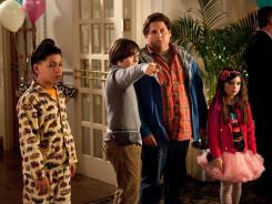 Babysitter Jonah Hill is responsible for young charges Kevin Hernandez, left, Max Records and Landry Bender.