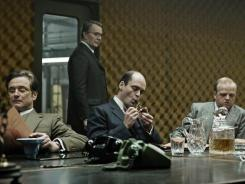 Colin Firth, left, Gary Oldman, David Dencik and Toby Jones play Cold War operatives in 'Tinker Tailor Soldier Spy.'