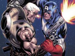 The futuristic X-Man Cable targets Captain America and other heroes in 'Avengers: X-Sanction.'