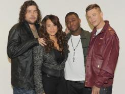 The 'X Factor' final four:: Josh Krajcik, left, Melanie Amaro, Marcus Canty and Chris Rene.