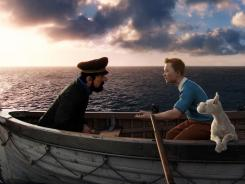 Captain Haddock (Andy Serkis), Tintin (Jamie Bell) and Snowy. The loyal fox terrier steals many scenes in 'The Adventures of Tintin.""