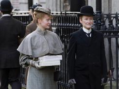 Seeking a normal life:  Albert (Glenn Close, right), a woman who lives as a man, woos Helen (Mia Wasikowska).