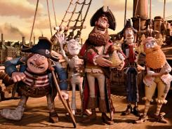 "Their finest ""arrgh!"":  Pirate with Gout (voiced  by Brendan Gleeson), left, Albino Pirate (Russell Tovey), Pirate Captain (Hugh Grant), Pirate with Scarf (Martin Freeman) and Surprisingly  Curvaceous Pirate (Ashley Jensen)."