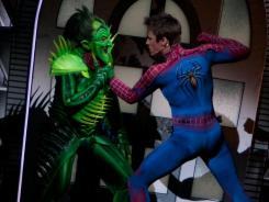 The Green Goblin (Patrick Page) and Spider-Man (Reeve Carney) fight it out onstage in 'Spider-Man: Turn off the Dark,' which earned nearly $3 million last week.