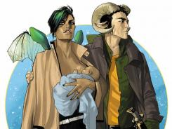 Ram-horned Marko and winged warrior Alana form a family in Brian K. Vaughan's 'Saga.' Artwork is by Fiona Staples.