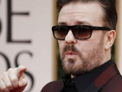 Ricky Gervais returned for his third year as host of the Golden Globes, and the barbs began here on the red carpet. Said Reese Witherspoon: &quot;He's so wrong, he's right.&quot;