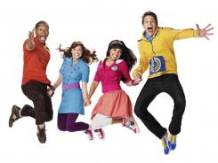 Jumping for joy: Shout (Thomas Hobson), left, Marina (Tara Perry), Kiki (Yvette Gonzalez-Nacer) and Twist (Jon Beavers) star in 'The Fresh Beat Band.'
