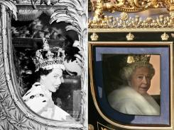 Storied carriage: The queen on June 2, 1953, left, after being crowned, and in London on Nov. 6, 2007.