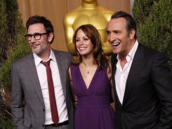Artists behind 'The Artist': Director Michel Hazanavicius, left, with stars B eacute/>r eacute/>nice Bejo and Jean Dujardin.