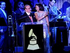 Whitney Houston and Clive Davis speak onstage at the 2011 Pre-GRAMMY Gala and Salute To Industry Icons Honoring David Geffen at the Beverly Hilton on Feb. 12, 2011.