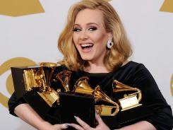 Adele carried off six Grammy Awards on Sunday.