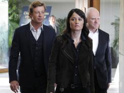 Malcolm McDowell, right, returns to 'The Mentalist' as creepy cult leader Bret Stiles.