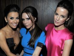Girls' night out: Eva Longoria, left, Victoria Beckham and Kate Beckinsale stuck together at Longoria's pre-Oscars bash, co-hosted by 'Vanity Fair.'