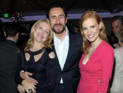 Patricia Clarkson, Demian Bichir and Jessica Chastain hit it off at the Vanity Fair and Richard Mille celebration of Martin Scorsese in support of The Film Foundation at Hotel Bel-Air in Los Angeles Friday.