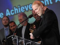 Gregg Allman accepts Lifetime Achievement award during the 2012 Grammys in Los Angeles.