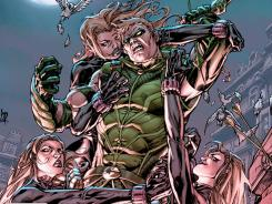 DC Comics' resident archer superhero tussles with the triplets called Skylark in the newest issue of Green Arrow.