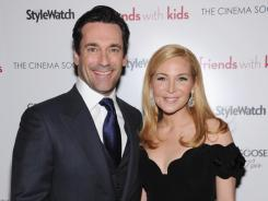 """I had to sleep with the director unfortunately,"" Jon Hamm joked of starring in his longtime love Jennifer Westfeldt's comedy 'Friends With Kids.'"