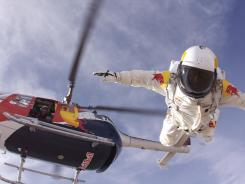 Austrian basejumper Felix Baumgartner does a practice jump in preparation for his 120,000-foot free fall.