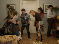 Impressive ensemble: Chris O'Dowd, left, Kristen Wiig, Adam Scott, Jennifer Westfeldt, Maya Rudolph and Jon Hamm anchor the comedy 'Friends With Kids.'