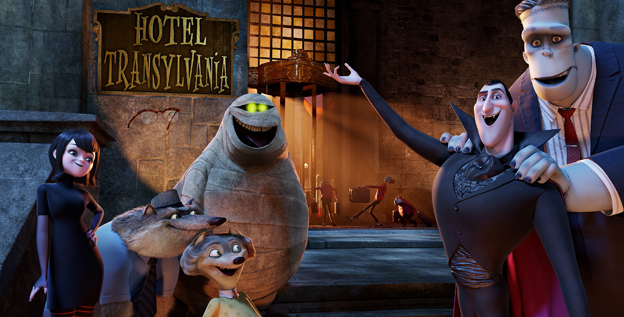 Monster mash: Mavis (voiced by Selena Gomez), left, Griffin the Invisible Man (David Spade), Wayne (Steve Buscemi), Wanda (Molly Shannon), Murray the Mummy (Cee Lo Green), Dracula (Adam Sandler) and Frank (Kevin James) star in 'Hotel Transylvania.'