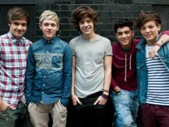 Liam Payne, left, Niall Horan, Harry Styles, Zayn Malik and Louis Tomlinson are British boy band One Direction.