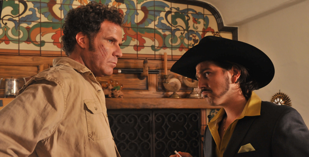 The non-fluent Will Ferrell stars alongside native Spanish speaking actors, including Diego Luna, right, in the Spanish language comedy 'Casa de mi Padre.'