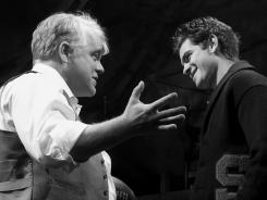 The Loman men: Philip Seymour Hoffman, left, stars as Willy; Andrew Garfield is elder son Biff, and Finn Wittrock is Happy.