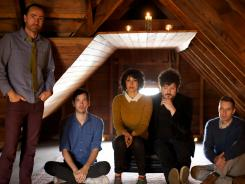 James Mercer, left, with Yuuki Matthews, Jessica Dobson, Richard Swift and Joe Plummer, has the voice to elevate the weaker songs on the band's first album since 2007.