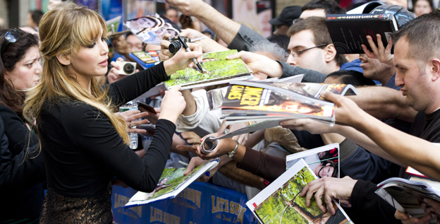 Jennifer Lawrence meets with fans after an appearance on the 'Late Show with David Letterman.'